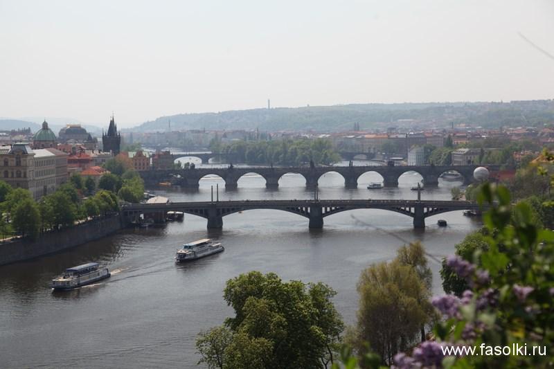 Вид на пражские мосты из Летенских садов
