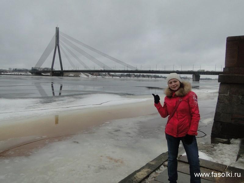 Вантовый мост через реку Даугаву