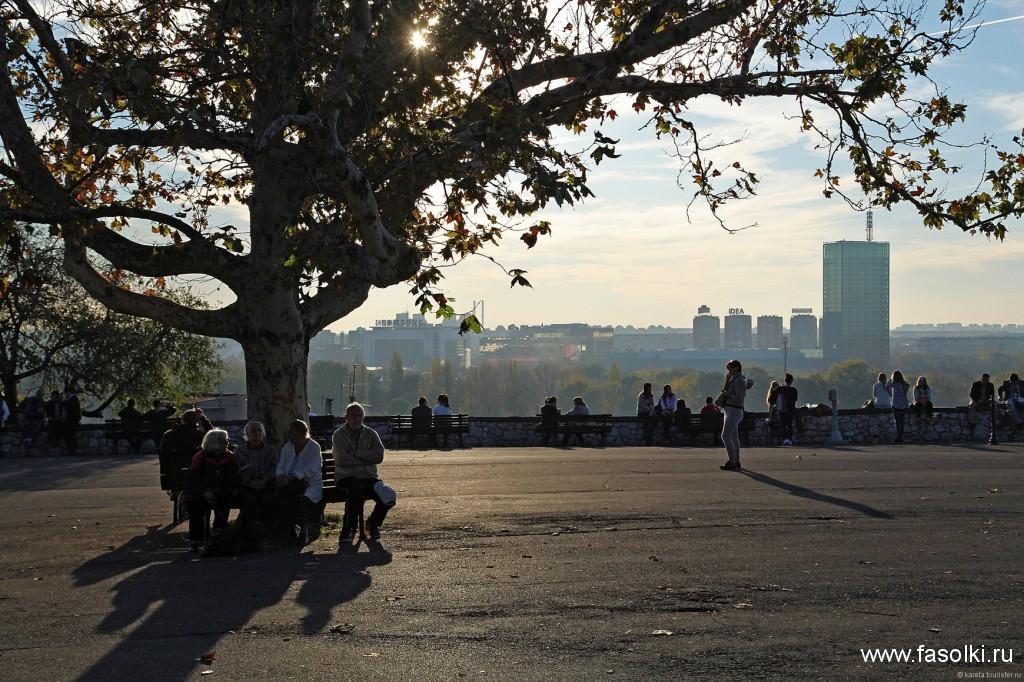 Отдыхающие в парке Калемгдан в Белграде