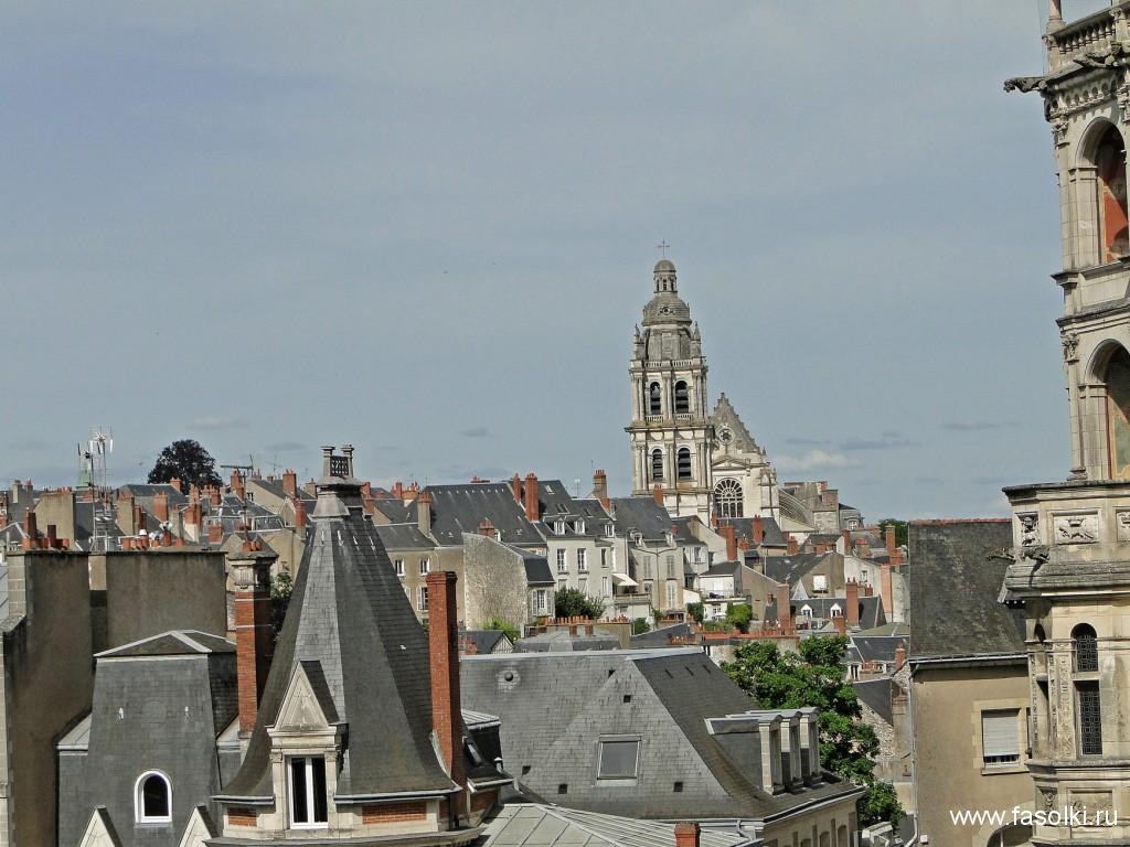 Вид на Блуа со стороны Королевского замка. Над городом возвышается колокольня кафедрального собора Святого Людовика